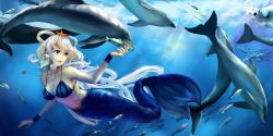 1girl alternate_color animal bear bikini_top blue_eyes breasts cleavage dolphin eating female fish food hair_rings jiaoshouwen long_hair luo_tianyi mermaid monster_girl necklace open_mouth polar_bear smile solo swimsuit underwater vocaloid water white_hair wristwear