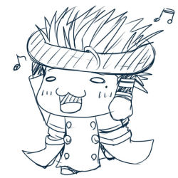 1boy :3 arms_up blush carrying chibi coat doughnut food happy high_collar long_coat mole monochrome musical_note open_mouth short_hair spiked_hair trigun vash_the_stampede walking