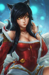 1girl ahri animal_ears blue_hair breasts clockwork-cadaver close-up fox_ears korean_clothes league_of_legends long_hair looking_at_viewer off_shoulder slit_pupils solo upper_body wide_sleeves