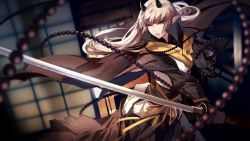 1girl androgynous arm_guards beads black_gloves blonde_hair brown_cape cowboy_shot expressionless gloves green_eyes highres holding holding_sword holding_weapon horns japanese_clothes katana kimono long_hair long_sleeves original pale_skin parted_lips pixiv_fantasia pixiv_fantasia_t prayer_beads ribbon sash skade solo sword unsheathed weapon yellow_ribbon