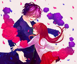 1boy 1girl blue_rose brown_hair coat eyes_closed flower garry_(ib) happy highres ib ib_(ib) kumakichi_(o0nebula0o) long_hair petals purple_hair rose short_hair smile