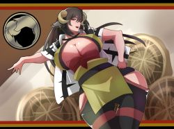 1girl black_hair breasts cleavage curvy erect_nipples hand_on_hip horns huge_breasts long_hair open_mouth original pixiv_fantasia pixiv_fantasia_t red_eyes smile solo thighs underboob webslinger wide_hips