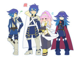 2boys 2girls azur_(fire_emblem) blue_hair blush family fire_emblem fire_emblem:_kakusei hand_holding krom lucina multiple_boys multiple_girls olivia_(fire_emblem) pink_hair wa_miyako