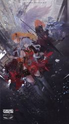 4girls armor arnas_(yoru_no_nai_kuni) back bangs blue_hair breasts character_request dress falling gauntlets goggles goggles_on_head hair_ornament highres holding_weapon long_hair looking_at_viewer lyuritis_(yoru_no_nai_kuni) mivit multiple_girls necktie one_eye_covered orange_hair polearm red_dress red_hair red_necktie ruins scrunchie short_hair silver_hair sleeveless spear star text thighhighs weapon wings wrist_scrunchie yellow_eyes yoru_no_nai_kuni