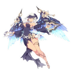 1girl bare_shoulders black_dress black_panties breasts covered_navel cross detached_sleeves dragon_nest dress dual_wielding full_body highres jewelry kali_(dragon_nest) large_breasts long_hair looking_at_viewer one_eye_covered panties parted_lips ronopu single_earring strapless strapless_dress underwear weapon white_hair wings