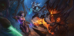 2girls absurdres aiming armor arrow bikini_armor blue_skin bow_(weapon) breasts cape diablo diablo_(character) diablo_3 drawing_bow elf gauntlets greaves heroes_of_the_storm highres hood large_breasts looking_at_another looking_to_the_side md5_mismatch monster_girl multiple_girls navel nguyen_uy_vu open_mouth pauldrons pointy_ears realistic red_eyes revision sarah_kerrigan starcraft starcraft_2:_heart_of_the_swarm starcraft_2:_wings_of_liberty sylvanas_windrunner warcraft weapon world_of_warcraft zeratul