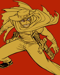 1boy cape cowboy feriowind flat_color hat livio_the_doublefang male pants red_background simple_background solo tattoo trigun western