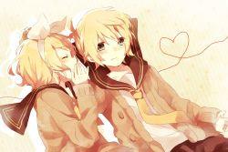 1boy 1girl aqua_eyes blonde_hair brother_and_sister hair_ornament hair_ribbon hairclip heart heart_of_string kagamine_len kagamine_rin macozi makoji_(yomogi) ribbon sailor_collar short_hair siblings sweater twins vocaloid