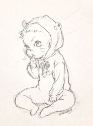 1boy animal_costume baby facial_mark frog_costume monochrome naruto short_hair sketch thumb_sucking uzumaki_boruto younger yukimichi_(snowysky)