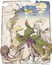 1girl female frog japanese_clothes kimono long_hair mermaid monster_girl original pale_skin parallela66 shell twitter_username underwater water white_border
