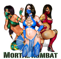 3girls ass black_hair breasts copyright_name dark_skin jade kitana large_breasts long_hair mask midriff mileena mortal_kombat multiple_girls simple_background smile