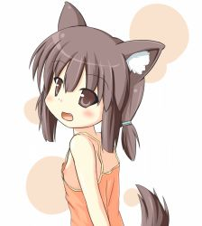 1girl :d animal_ears breasts brown_eyes brown_hair fang loli looking_at_viewer nipple_slip nipples open_mouth short_hair sideboob simple_background tail white_background