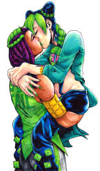 armband arms_around_neck blue_hair braid carrying coat crosshatching double_bun eyelashes eyes_closed green_hair green_nails hair_tie hairlocs hermes_costello highres jojo_no_kimyou_na_bouken kiss kuujou_jolyne lana_cross multicolored_hair nail_polish navel purple_hair scar tattoo traditional_media two-tone_hair yuri