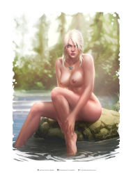 absurdres barefoot breasts ciri freckles green_eyes highres jewelry krystopher_decker legs lips necklace pussy river the_witcher_3
