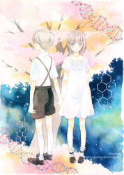 1boy 1girl blue_eyes dna dress hand_holding original short_hair silver_hair tree yuufuushi
