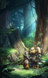 2016 armor artist_name bastion_(overwatch) bodysuit commentary cyborg dated gatling_gun genji_(overwatch) glowing grass gun headband helmet hill humanoid_robot katana leaf looking_at_another looking_away looking_down mask mecha monk mushroom nature one_knee orb outstretched_hand overwatch pants plant power_armor robot rock rope scenery sheath sheathed signature sparkle standing sun_stark sunlight sword tassel torn_clothes tree tree_shade vines weapon zenyatta_(overwatch)