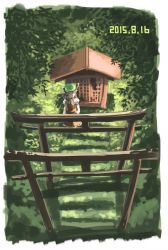 1girl animal_ears brown_eyes brown_hair cat_ears chen dated grass hat kabu_(yuyuibob) leaf shrine solo stairs torii touhou