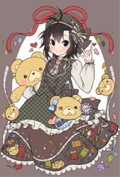1girl 72producer antenna_hair black_eyes black_hair buttons dress hat idolmaster kikuchi_makoto long_sleeves looking_at_viewer needle plaid plaid_dress ribbon scissors sewing_needle sewing_pins short_hair solo stuffed_animal stuffed_toy tape_measure teddy_bear