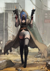 1girl acket blue_eyes blue_hair dual_wielding gas_mask gods_(1073337800) highres hooded_jacket long_hair original pixiv_fantasia pixiv_fantasia_t solo thighhighs