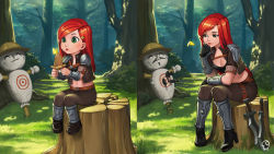 belt bling_(wnsdud34) breasts butterfly child chin_rest cleavage cropped_jacket fingerless_gloves gloves green_eyes hat highres katarina_du_couteau kunai league_of_legends lips long_hair midriff outdoors red_hair shoulder_pads sitting sword thigh_strap tree_stump weapon younger