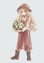 1girl :d absurdres alternate_costume black_boots blonde_hair blue_background boots bow braid brown_hat c_(artist) collared_shirt commentary_request daisy flower flower_basket full_body hair_bow hair_ribbon hat highres kirisame_marisa long_hair long_sleeves looking_at_viewer object_hug open_mouth orange_bow orange_eyes overalls puffy_long_sleeves puffy_sleeves ribbon shirt side_braid simple_background single_braid smile solo suspenders touhou tress_ribbon wavy_hair white_flower white_shirt