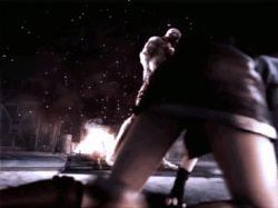 3d animated animated_gif ass cgi jill_valentine legs miniskirt on_ground resident_evil short_hair thighs tubetop tyrant