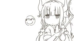 1girl animated animated_gif artist_request eating kanna_kamui kobayashi-san_chi_no_maidragon lowres net sketch smiley_face solo trembling white_background