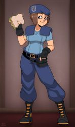 1girl brown_hair jill_valentine meme pun resident_evil sandwich uniform