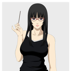 1girl bespectacled black_hair ga-rei ga-rei_zero glasses hime_cut isayama_yomi long_hair nukonuko pocky solo