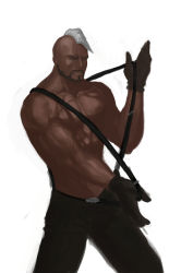 1boy abs black_gloves dark_skin diestro facial_hair gloves goatee king_of_fighters male mohawk muscle pants seth_(kof) shirtless solo suspenders suspenders_pull very_dark_skin white_hair
