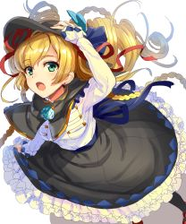 1girl bangs black_hat black_legwear black_skirt blonde_hair braid brooch capelet drill_hair from_above green_eyes hand_on_own_head hat highres ikomochi jewelry long_hair long_sleeves looking_at_viewer open_mouth original shirt simple_background sketch skirt skirt_hold solo standing white_background white_shirt