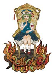 1girl chair fire green_eyes green_hair hat onigiri_(ginseitou) ribbon rod_of_remorse shiki_eiki short_hair sitting skirt solo touhou