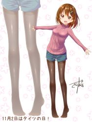 1girl :d artist_name black_legwear blush brown_eyes brown_hair date_pun dated gurande_(g-size) hair_ornament hairclip highres legwear_under_shorts long_legs no_shoes number_pun open_mouth original outstretched_arms pantyhose ribbed_sweater short_hair shorts signature smile solo spread_arms sweater tights_day translated turtleneck