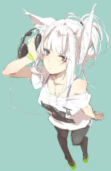 1girl animal_ears bangs black_legwear blue_eyes bra_strap cable flip-flops from_above hair_bun headphones headphones_removed holding_headphones leggings looking_at_viewer off_shoulder original sandals shunsei_(muratou) simple_background sketch solo standing t-shirt white_hair wristband