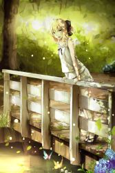 1girl ahoge alternate_costume bridge butterfly fate/stay_night fate_(series) flower forest highres hydrangea leaning_forward magicians_(zhkahogigzkh) nature railing saber saber_lily sandals solo tiptoes water