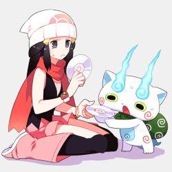 1girl black_hair boots cd character_request frown gum_(gmng) hat hikari_(pokemon) koma-san long_hair pokemon scarf sitting sweatdrop wariza watch youkai_watch
