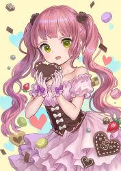 1girl :d ama-tou bangs bare_shoulders blunt_bangs blush bow bunny checkerboard_cookie chocolate chocolate_heart collarbone commentary cookie corset cowboy_shot detached_sleeves dress eyebrows_visible_through_hair eyelashes fang food frilled_sleeves frills fruit gloves hair_ornament heart heart_background holding holding_food long_hair looking_at_viewer macaron open_mouth original pink_hair puffy_short_sleeves puffy_sleeves ribbon shiny shiny_hair short_sleeves smile solo strawberry sweets twintails underbust valentine very_long_hair wavy_hair yellow_background yellow_eyes