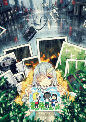 2girls bandage blue_eyes camera crying crying_with_eyes_open english flower highres holding jugatsu_junichi long_hair looking_at_viewer multiple_girls original photo_(object) picture_(object) rain silver_hair smile streaming_tears tears