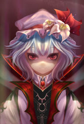 1girl aurora_rokudo blue_hair brooch eyelashes flower hat hat_flower hat_ribbon jewelry light_smile looking_at_viewer mob_cap portrait pov pov_eye_contact red_eyes remilia_scarlet ribbon shaded_face short_hair solo touhou tsurime