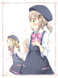 2girls :3 :d blush breast_envy breasts employee_uniform fang green_eyes grey_hair hair_ornament hairclip hat kito_(sorahate) large_breasts long_sleeves low_twintails multiple_girls onozuka_hikari open_mouth school_uniform short_hair smile twintails uniform yama_no_susume yukimura_aoi