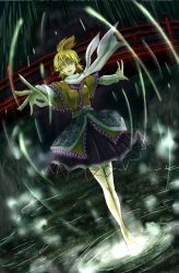 1girl arm_warmers barefoot blonde_hair bridge crying crying_with_eyes_open foreshortening full_body futagojima glowing glowing_eye green_eyes high_ponytail looking_at_viewer mizuhashi_parsee outstretched_arms pointy_ears reaching_out sash scarf short_hair solo spread_arms standing standing_on_liquid tears touhou under_bridge white_scarf