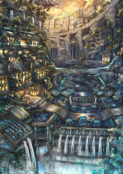 bridge city city_lights cityscape fantasy gears highres no_humans original river scenery sky stairs sunset sy-l-via tree water waterfall