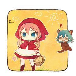 !! 2boys animal_costume animal_ears aqua_hair ayu_(mog) basket big_bad_wolf_(cosplay) big_bad_wolf_(grimm) blue_eyes cosplay crossdressing fang flower grass grimm's_fairy_tales hood inazuma_eleven_(series) inazuma_eleven_go kariya_masaki kirino_ranmaru little_red_riding_hood little_red_riding_hood_(cosplay) little_red_riding_hood_(grimm) long_hair lowres male_focus multiple_boys musical_note open_mouth pink_hair quaver sun twintails wolf_costume wolf_ears yellow_background yellow_eyes