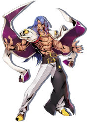 1boy azrael_(blazblue) belt blazblue blazblue:_central_fiction blue_hair choker facial_hair full_body goatee grin highres jacket_on_shoulders long_hair looking_at_viewer male_focus official_art outstretched_arms pants red_eyes shadow shirtless shoes smile solo spread_arms standing tattoo white_background white_pants