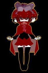 1girl black_background black_legwear black_shirt bow cloak closed_mouth covered_mouth expressionless full_body hair_bow half-closed_eyes highres looking_at_viewer multiple_heads open_hands outline red_eyes red_hair red_skirt sekibanki shirt short_hair simple_background skirt solo sparkle thighhighs touhou translation_request yt_(wai-tei) zettai_ryouiki