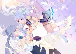 2girls blue_eyes blue_hair boots dual_persona floating_hair hair_ornament hairclip hassan_(sink916) hatsune_miku kneehighs long_hair microphone multiple_girls nail_polish open_mouth paper skirt thigh_boots thighhighs twintails very_long_hair vocaloid wrist_cuffs