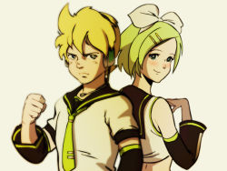 1boy 1girl 80s blonde_hair brother_and_sister headset kagamine_len kagamine_rin kikou-kai_galient nippori_honsha siblings tagme twins vocaloid