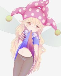 1girl american_flag_dress blonde_hair blush clownpiece cowboy_shot crotch_seam dutch_angle fairy_wings hat ishikkoro jester_cap long_hair looking_away midriff mouth_hold navel neck_ruff panties panties_under_pantyhose pantyhose polka_dot red_eyes simple_background solo standing star star_print striped touhou underwear very_long_hair white_background wings