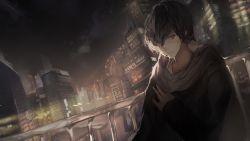1boy black_hair dark kurusu_akira looking_at_viewer night ori_(momonimo) persona persona_5 scarf short_hair solo
