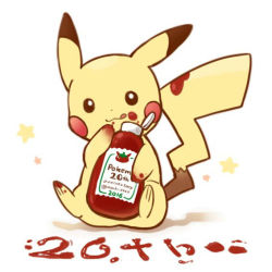 :3 anniversary eating food food_on_body food_on_face food_on_tail ketchup ketchup_bottle licking_lips no_humans pikachu pokemon pokemon_(creature) sakuramochi_n sitting star tongue tongue_out